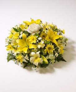 white and yellow posy