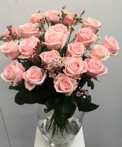 Pink Roses with Wax Flower
