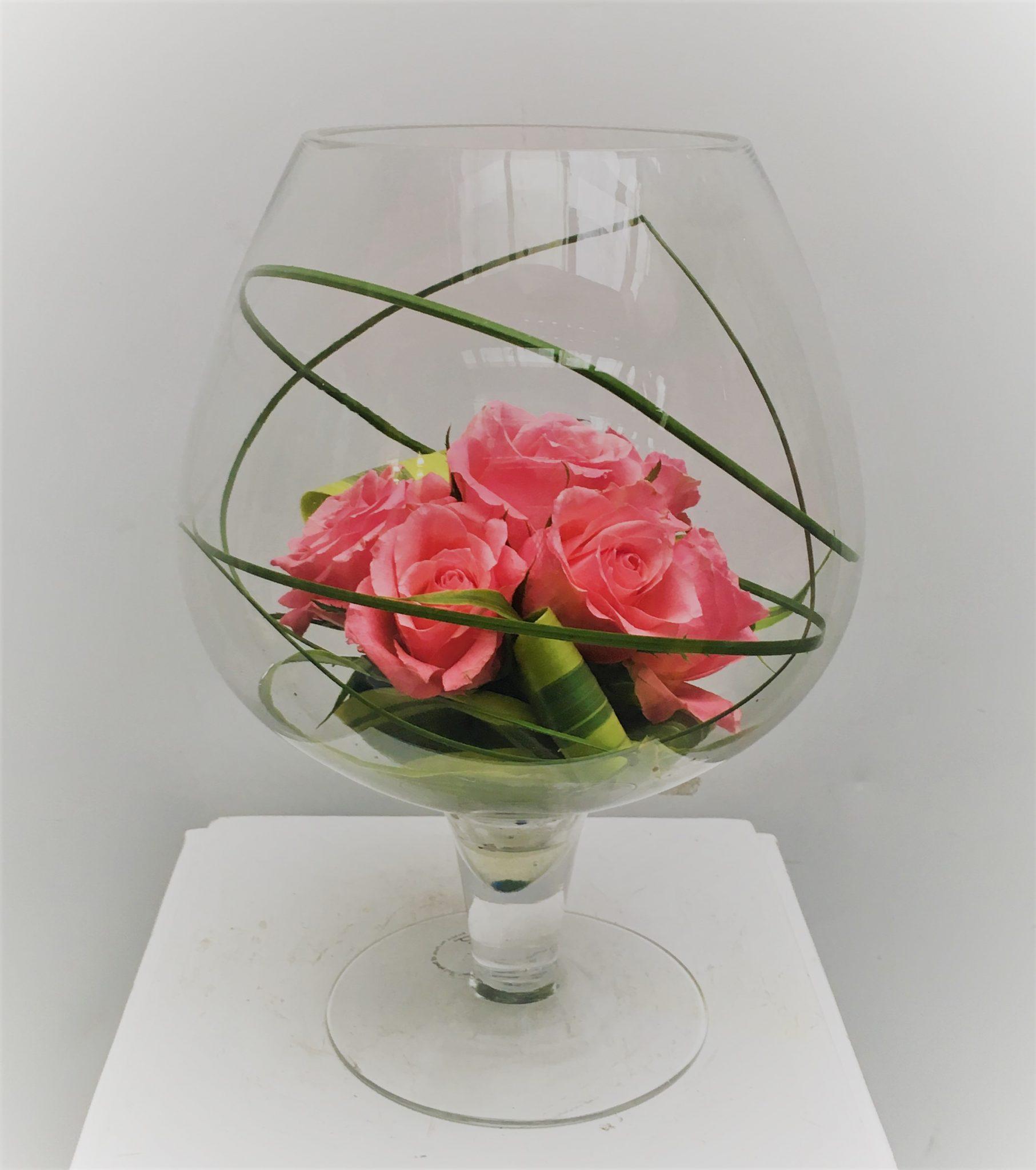 Pink Glass Rose Vase