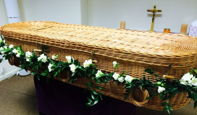 photo of casket – decorated